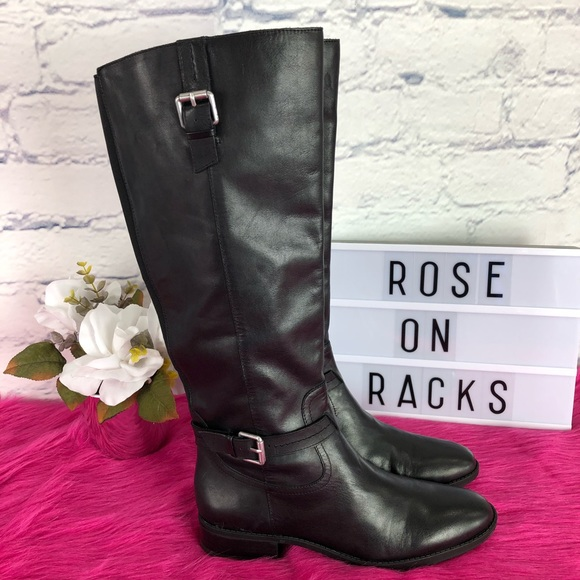 e4757a34e2b Sam Edelman Ponce Black Leather Tall Buckle Boot